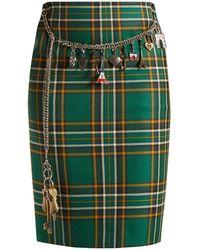 Balenciaga - Tartan Chain-belt Pencil Skirt - Lyst