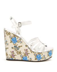 Prada | Floral-jacquard Leather Wedge Sandals | Lyst