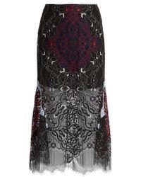 Jonathan Simkhai - Tri-colour Embroidered Lace Midi Skirt - Lyst