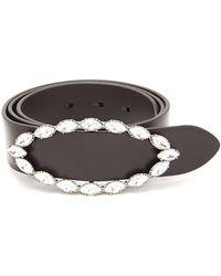 Saint Laurent | Crystal-embellished Buckle Leather Belt | Lyst