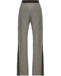 Loewe - Houndstooth Leather Trim Trousers - Lyst