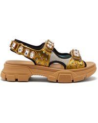 83f24dc1a7bb50 Gucci - Aguru Crystal Embellished Leather And Mesh Sandals - Lyst