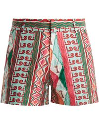 Le Sirenuse - Arlechino Print Embroidered Cotton Shorts - Lyst