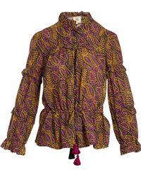 Figue - Haut en coton à volants et motif cachemire Zola - Lyst