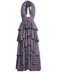 Gül Hürgel - Floral-print Halterneck Tiered Cotton Dress - Lyst