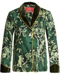 F.R.S For Restless Sleepers - Persefone Velvet-trimmed Silk-twill Pyjama Shirt - Lyst