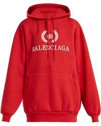 Balenciaga - Bb Logo Cotton-blend Hooded Sweatshirt - Lyst