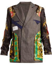 Toga - Reversible Satin Panelled Wool Blazer - Lyst