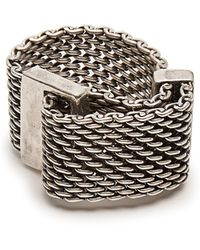 Title Of Work - Macro Mesh Sterling Silver Ring - Lyst