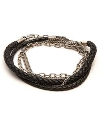 Title Of Work - 5 Wrap Leather And Sterling Silver Bracelet - Lyst
