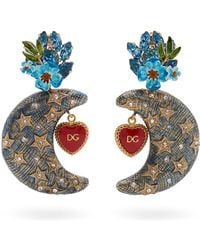 Dolce & Gabbana - Crystal Embellished Moon Charm Clip Earrings - Lyst