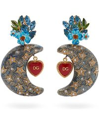 Dolce & Gabbana - Crystal Embellished Moon Charm Clip On Earrings - Lyst