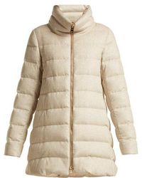 Herno - Funnel Neck Quilted Down Mid Length Coat - Lyst