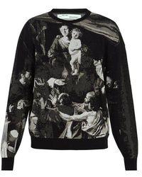 Off-White c/o Virgil Abloh - Caravaggio-intarsia Cotton-blend Jumper - Lyst
