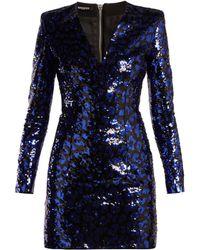 Balmain - Leopard Sequined Mini Dress - Lyst