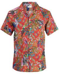 Etro - Tropical-print Short-sleeved Linen Shirt - Lyst