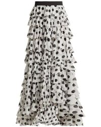 Norma Kamali - - Tiered Polka Dot Crepe Maxi Skirt - Womens - White Print - Lyst