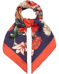 Gucci - Gg Belt And Floral Print Silk Scarf - Lyst