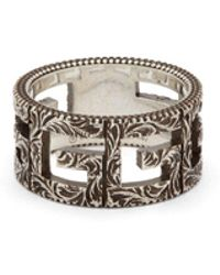 Gucci - G Motif Sterling Silver Ring - Lyst