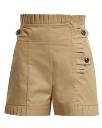 Teija - Pleated-trim High-waisted Cotton Shorts - Lyst