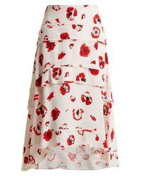 Proenza Schouler - Poppy-print Tiered Crepe Skirt - Lyst