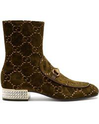 Gucci - Mister Logo Jacquard Velvet Ankle Boots - Lyst