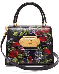 Dolce   Gabbana - Welcome Mini Floral Painted Leather Bag - Lyst e6d68de7314ea