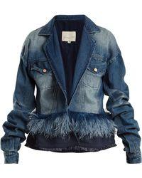 Johanna Ortiz - Feather-embellished Denim Jacket - Lyst