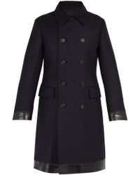 Prada - Double Breasted Padded Wool Coat - Lyst