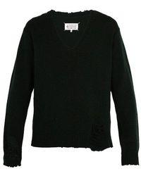 Maison Margiela - Distressed V-neck Sweater - Lyst