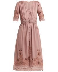 Sea - Greta Floral-embroidered Cotton-blend Dress - Lyst