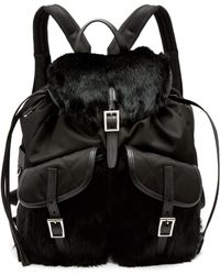 Prada - All Designer Products - Small Fox-fur Trimmed Nylon Backpack - Lyst