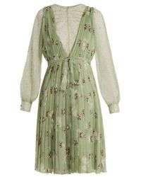 Valentino - Floral-print Lace-trimmed Silk-chiffon Dress - Lyst
