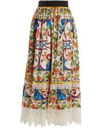 Dolce & Gabbana - Majolica-print Lace-trimmed Cotton-blend Skirt - Lyst