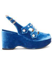Toga - Velvet Embellished Wedge Sandals - Lyst