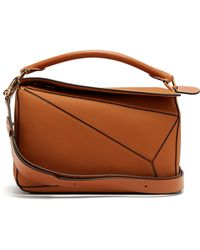 8c8ceb7a2aa3 Loewe Puzzle Grained Leather Cross Body Bag in Brown - Lyst