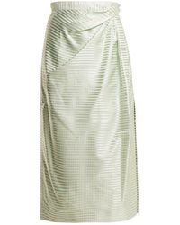 Carolina Herrera - High-rise Gingham Silk Midi Skirt - Lyst
