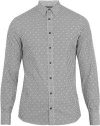 Alexander McQueen | Harness Skull-jacquard Striped Cotton Shirt | Lyst