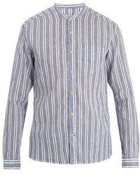 Oliver Spencer - Granddad-collar Striped Cotton-blend Shirt - Lyst