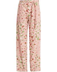 Valentino - Daisy Print Silk Crepe De Chine Trousers - Lyst