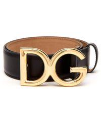 Dolce & Gabbana - Dg Buckle Leather Belt - Lyst