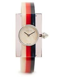 Gucci - Sylvie Web-striped Plexiglass Watch - Lyst