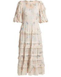 Rebecca Taylor - - Floral Print Crepe Midi Dress - Womens - Cream Multi - Lyst