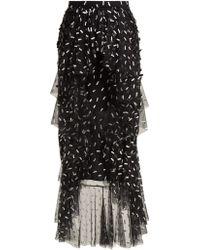 Rodarte - Asymmetric Floral And Bow Appliqué Tulle Skirt - Lyst