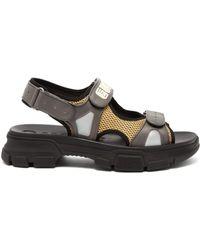 Gucci - Aguru Leather And Mesh Sandals - Lyst