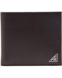 a92d8a2536 Lyst - Prada - Logo Plaque Bi-fold Wallet - Men - Calf Leather - One ...