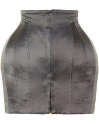 Balmain - Structured Satin Mini Skirt - Lyst
