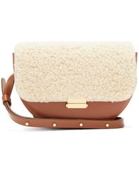Wandler Anna Shearling And Leather Belt Bag - Natural
