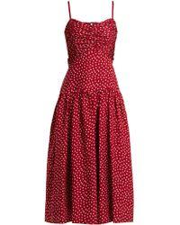 Rebecca Taylor - Heart Print Ruched Silk Dress - Lyst