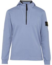 Stone Island - Half Zip Cotton Hooded Sweatshirt - Lyst